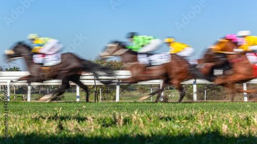 Fotografie, Tablou Horse Racing Horses Jockeys Blurred Motion Speed Close Up Action