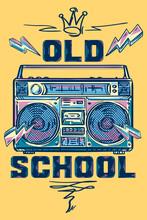 Old School - Music Design, Funky Colorful Drawn Boom Box Tape Recorder