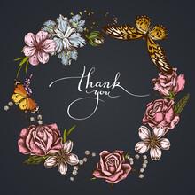 Dark Floral Wreath Of Shepherd S Purse, Heather, Iris Japonica, Sakura, Gypsophila, Almond, African Giant Swallowtail, Plain Tiger, Roses