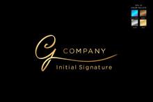 Signature Logo Design Initial G Beauty Monogram And Elegant Logo Design, Handwriting Logo Of Initial Signature, Wedding, Fashion, Floral And Botanical With Creative Template.