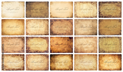 Obraz na plátně collection set old parchment paper sheet vintage aged or texture isolated on whi