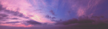 Horizontal Panorama Of Colorful Cloudy Sky At Sunset. Sky Texture, Abstract Nature Background