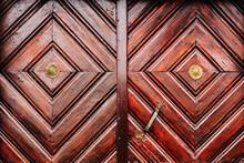 Rustic Wooden Door Detail As Background, Weathered Surface Of Massive Entrance Doorway