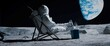 Leinwandbild Motiv Back view of lunar astronaut opens a beer bottle while resting in a beach chair on Moon surface, enjoying view of Earth
