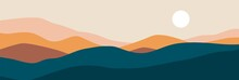 Abstract Landscape Poster. Nature Wall Decor Contemporary Art Print, Mid Century Mountain Background. Vector Illustration