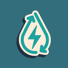 Green Water Energy Icon Isolated On Green Background. Ecology Concept With Water Droplet. Alternative Energy Concept. Long Shadow Style. Vector