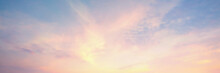 Sky Panorama Natural Colors Evening Sky Shine New Day For Heaven,The Light From Heaven From The Sky Is  Mystery, In The Twilight Golden Atmosphere, Modern Sheet Structure Design, New Banner Web 2021