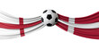England Vs. Denmark soccer match. flags with football. 3D Rendering