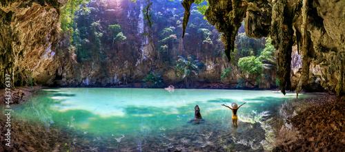 Stampa su Tela Panorama of Woman enjoying in princess lagoon at Railay, Krabi in Thailand