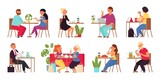 Cartoon people in cafe. Restaurant group, shopping friends drinking. Woman with laptop. Couple drink coffee, work meet on lunch decent vector scenes