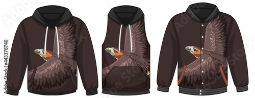 Tableau sur Toile Set of different jackets with hawk template