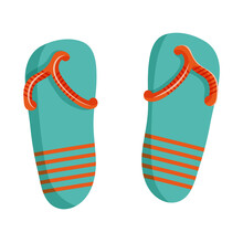 Vector Illustration Of Flip Flops In Cartoon Flat Style. Summer Beach Shoes In Blue With Orange Stripes