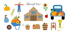 Autumn Vector Clipart With Old Wood Barn, Blue Truck, Scarecrow, Wheelbarrow, Pumpkins, Apples In Baskets And Crate, Cider Press, Sunflower Isolated On White Background.
