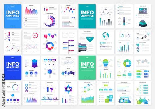 Obraz na plátně Set of four infographic brochure templates