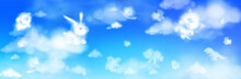 Cloud Animals Flying In Blue Sky, Fluffy Eddies In Shape Of Cute Rabbit, Bear, Elephant And Pig With Chick And Snail Or Cat With Dinosaur, Weather And Nature Concept, Realistic 3d Vector Illustration