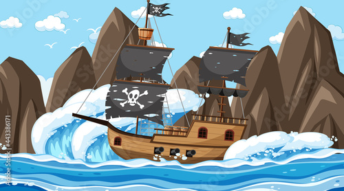 Obraz na plátně Ocean with Pirate ship at day time scene in cartoon style