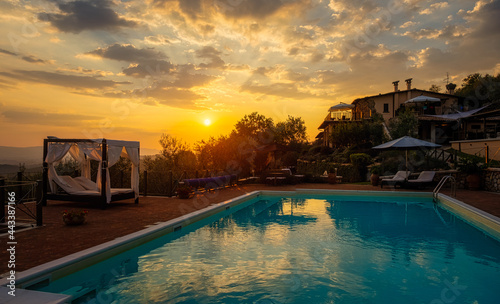 Fotografiet Luxury country house with swimming pool in Italy