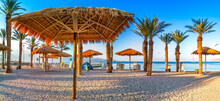 Morning On Central Public Beach In Eilat - Famous Tourist Resort And Recreational City In Israel And Middle East