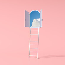 Minimal Conceptual Scene Of Blue Sky In An Arch Window And Ladder On Pink Background. 3D Rendering.