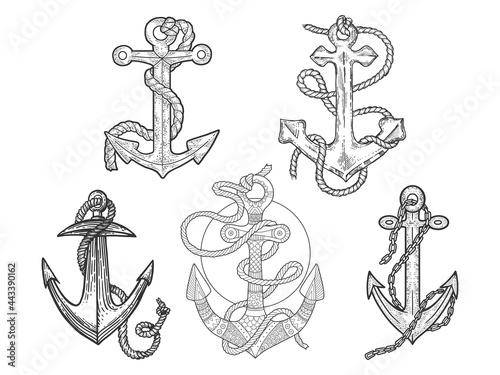 Foto Anchor and rope set line art sketch engraving vector illustration