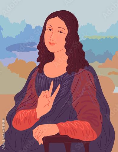 Fotomural Portrait of woman showing v sign