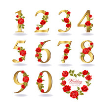 Collection Of Numbers Decorated With Roses, Leaves, Branches