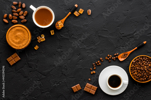 Slika na platnu Frame of assorted coffee and cocoa - beans with powder and hot drink