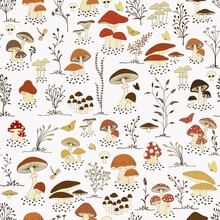Seamless Pattern With Cartoon Mushrooms And Butterflies