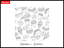 Fast Food Decorative Seamless Pattern. Premium Vector