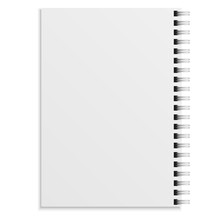 Notebook Realistic. White Copybook Blank Closed Spiral Binder. Paper Organizer, Sketchbook Or Diary Mockup. Clean Sheets, Soft Cover Top View, Office Stationery Vector Isolated Illustration