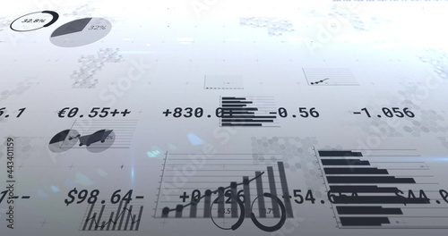 Image of financial data processing, numbers changing and statistics