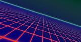 Image of glowing red grid moving in space on seamless loop