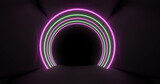 Concetric pink and yellow neon light arches pulsating on a black background