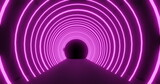 Moving through a tunnel of concetric pink neon arches pulsating on a black background