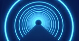 Moving through a tunnel of concetric blue neon arcs pulsating on a black background