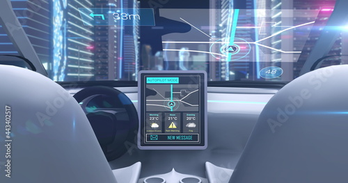 Image game simulation screen showing car cockpit driving through city streets