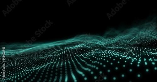 Green digital wave moving against black background