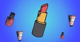 Composition of lipstick repeated on blue background