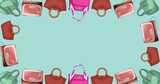 Composition of handbag repeated on green background