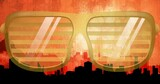 Composition of glasses in city on yellow background