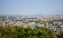 View From The Hill Of The Thai Town Of Mae Sai To The Border Town Of Tachilek In Myanmar. View Of The Thai Burmese Border. Chiang Rai Province. North Of Thailand