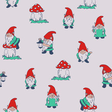 Seamless Vector Pattern With Garden Gnomes On Light Grey Background. Simple Summer Elf Wallpaper Design. Decorative Season Fashion Textile.