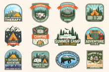 Set Of Rv Camping Badges, Patches. Vector Concept For Shirt Or Logo, Print, Stamp Or Tee. Vintage Typography Design With RV Motorhome, Camping Trailer And Off-road Car Silhouette.