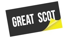 GREAT  SCOT Text On Black Yellow Sticker Stamp.