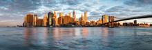 Lower Manhattan Skyline Panorama At Sunrise, New York City, USA