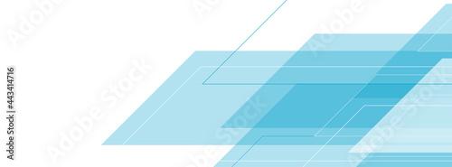 Leinwand Poster White blue tech geometric abstract minimal background