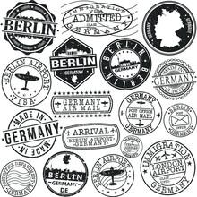 Berlin Germany Stamp Vector Art. Postal Passport Travel Design Set Vintage Icons.
