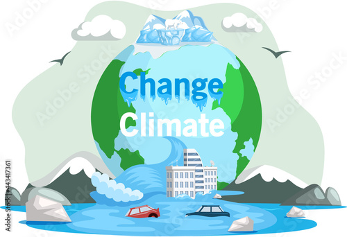 Fotografia, Obraz Melting glaciers, global warming, sea level rose and flooded cities, ecological catastrophy