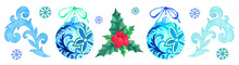 Set With Christmas Decorations For Greeting Cards, Invitations, Prints, Posters, Stickers, Packaging. Watercolor Elements For Your Design