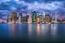 Lower Manhattan Skyline At Night, New York City, USA